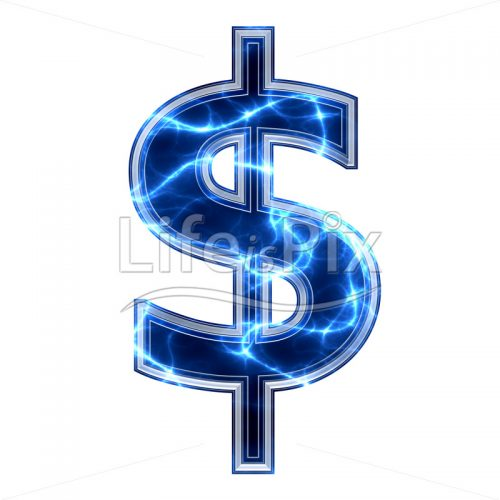3d dollar sign with blue lightning texture on white background – $ – Royalty free stock photos, illu