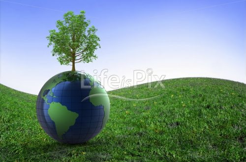 3d earth in a prairie - Royalty free stock photos, illustrations and 3d letters fonts