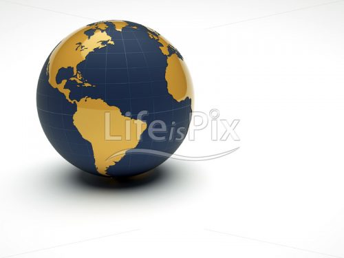 3d earth with golden continents on white background - Royalty free stock photos, illustrations and 3d letters fonts