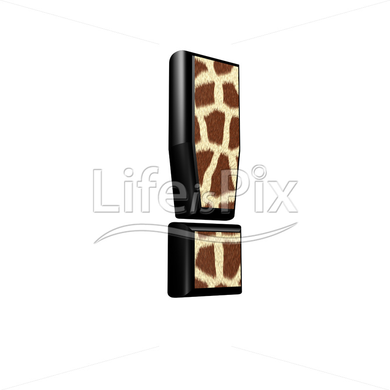 3d exclamation point with giraffe fur texture - Royalty free stock photos, illustrations and 3d letters fonts
