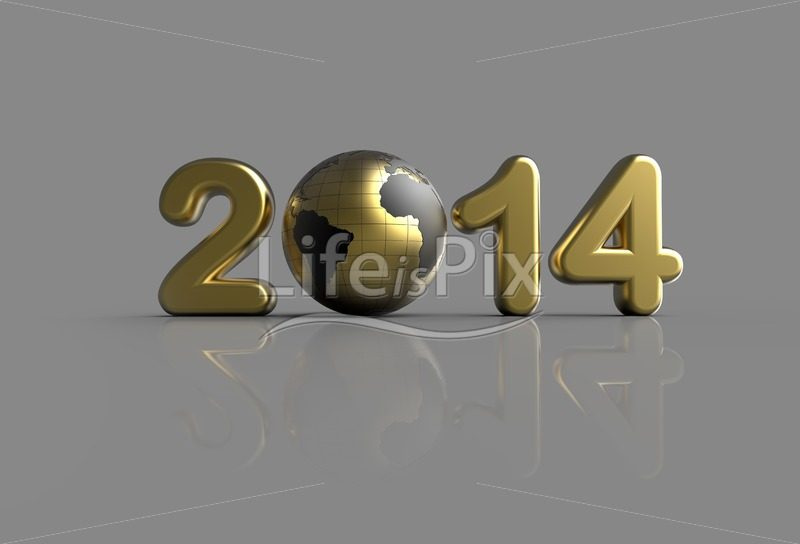 3d golden new year 2014 logo - Royalty free stock photos, illustrations and 3d letters fonts