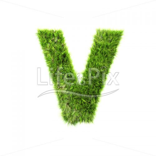 3d grass capital letter isolated on white background – V - Royalty free stock photos, illustrations and 3d letters fonts