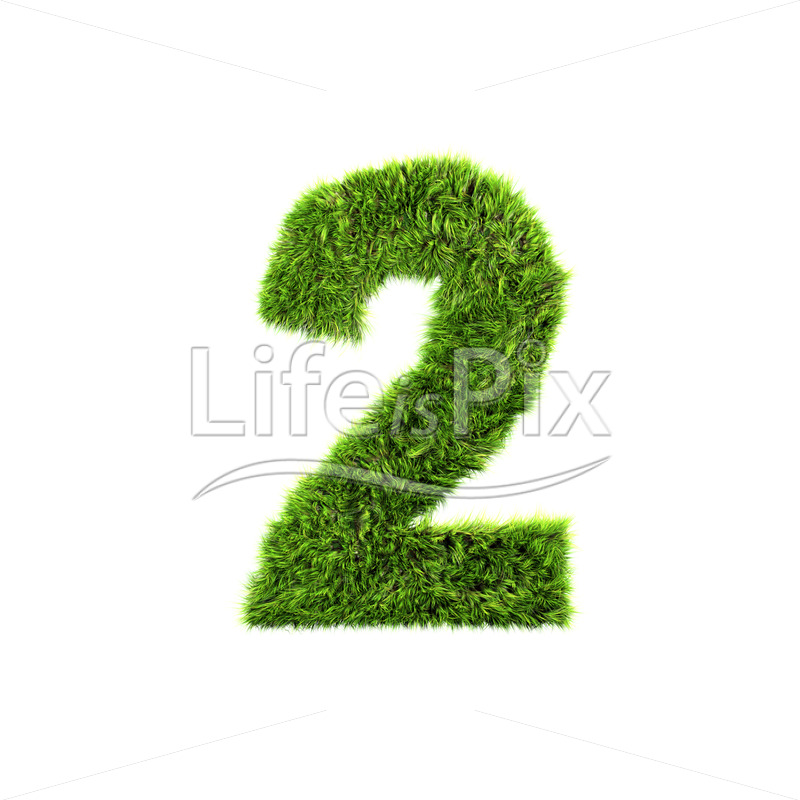 3d grass digit isolated on a white background – 2 – Royalty free stock photos, illustrations and 3d letters fonts