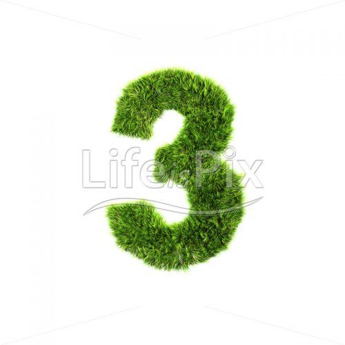 3d grass digit isolated on a white background – 3 – Royalty free stock photos, illustrations and 3d letters fonts