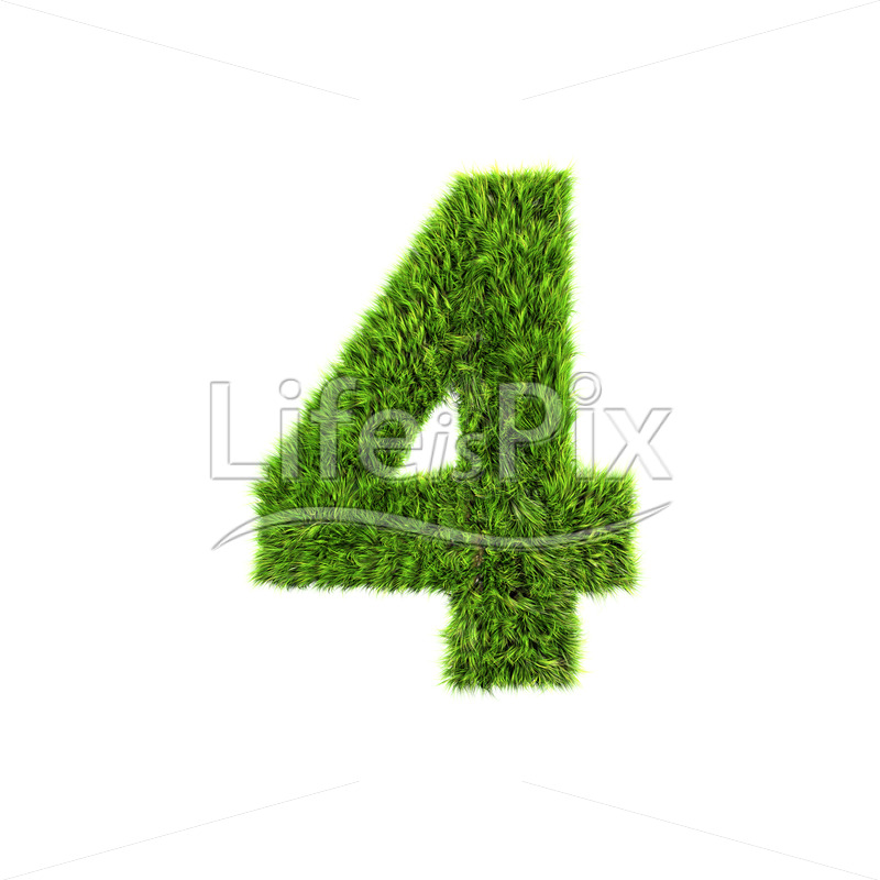 3d grass digit isolated on a white background – 4 – Royalty free stock photos, illustrations and 3d letters fonts