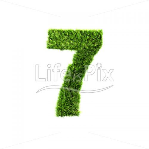 3d grass digit isolated on a white background – 7 – Royalty free stock photos, illustrations and 3d letters fonts