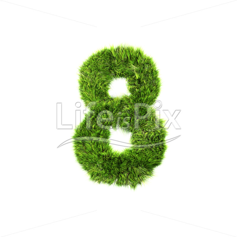 3d grass digit isolated on a white background – 8 – Royalty free stock photos, illustrations and 3d letters fonts