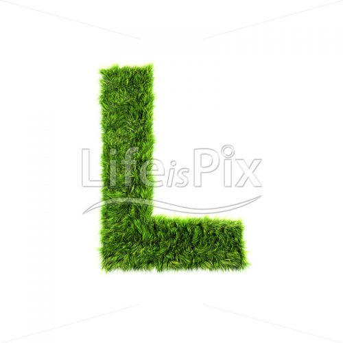 3d grass letter isolated on white background – capital L - Royalty free stock photos, illustrations and 3d letters fonts