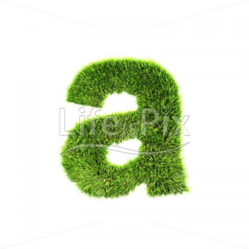 3d grass letter isolated on white background – small a - Royalty free stock photos, illustrations and 3d letters fonts