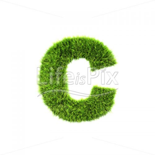 3d grass letter isolated on white background – small c - Royalty free stock photos, illustrations and 3d letters fonts