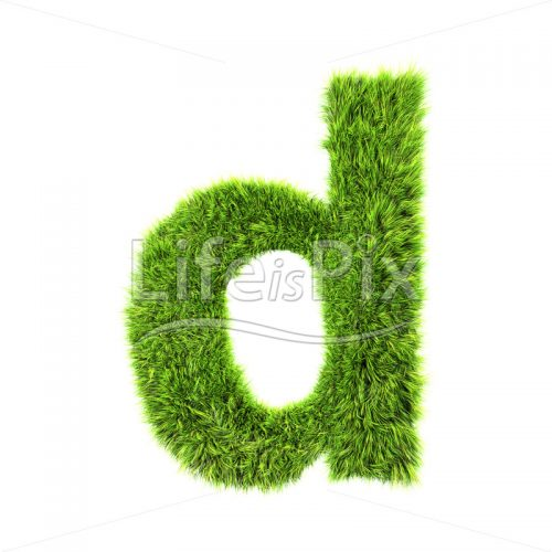 3d grass letter isolated on white background – small d - Royalty free stock photos, illustrations and 3d letters fonts