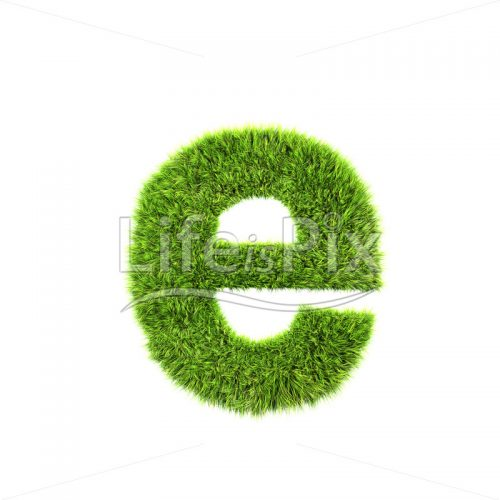 3d grass letter isolated on white background – small e - Royalty free stock photos, illustrations and 3d letters fonts