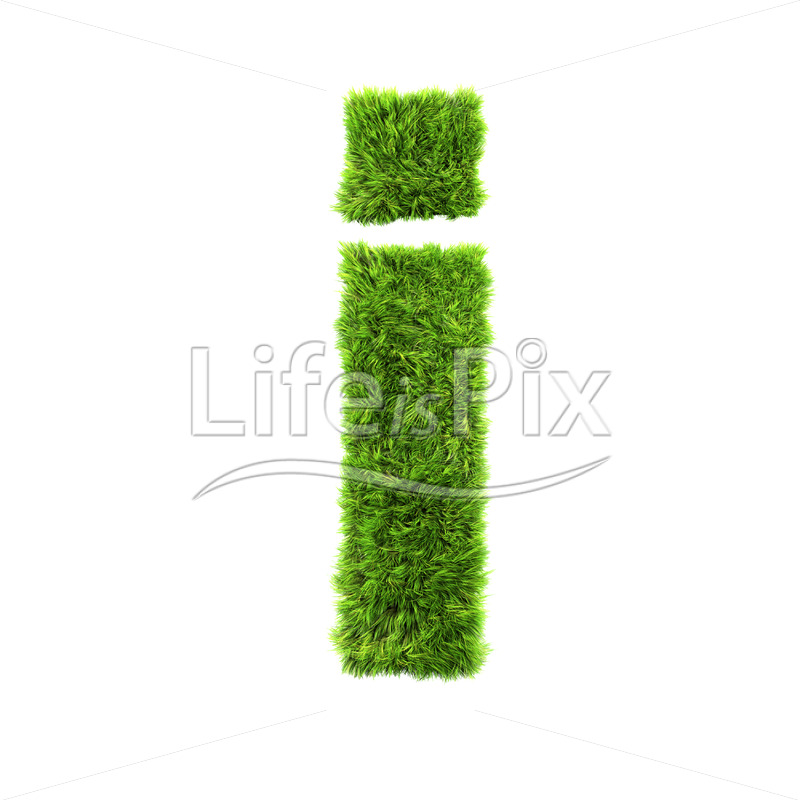 3d grass letter isolated on white background – small i - Royalty free stock photos, illustrations and 3d letters fonts