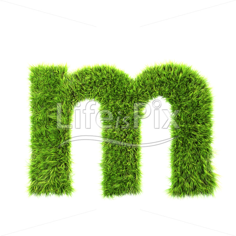 3d grass letter isolated on white background – small m - Royalty free stock photos, illustrations and 3d letters fonts