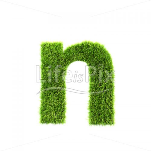 3d grass letter isolated on white background – small n - Royalty free stock photos, illustrations and 3d letters fonts