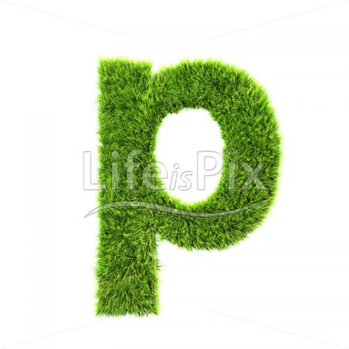 3d grass letter isolated on white background – small p - Royalty free stock photos, illustrations and 3d letters fonts