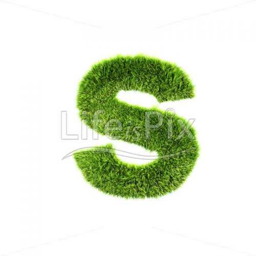 3d grass letter isolated on white background – small s - Royalty free stock photos, illustrations and 3d letters fonts