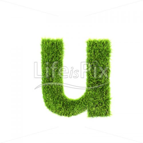 3d grass letter isolated on white background – small u - Royalty free stock photos, illustrations and 3d letters fonts