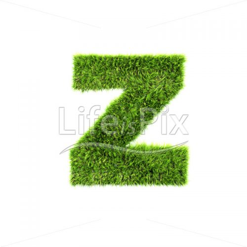 3d grass small letter isolated on white background – z - Royalty free stock photos, illustrations and 3d letters fonts