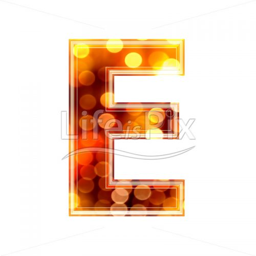 3d letter with blur defocus lights texture – E – Royalty free stock photos, illustrations and 3d letters fonts