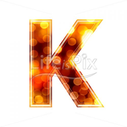 3d letter with blur defocus lights texture – K – Royalty free stock photos, illustrations and 3d letters fonts