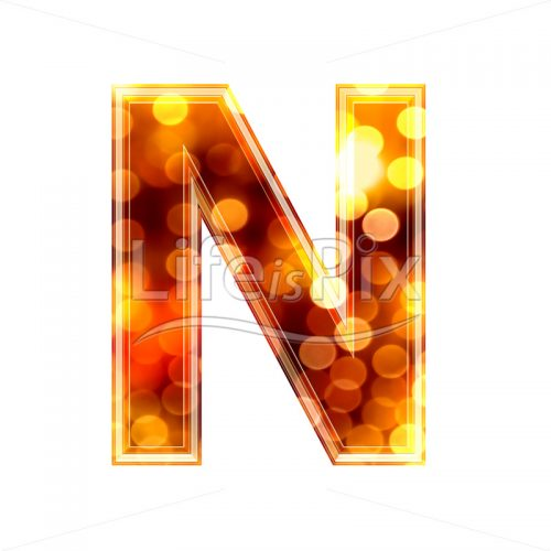 3d letter with blur defocus lights texture – N – Royalty free stock photos, illustrations and 3d letters fonts
