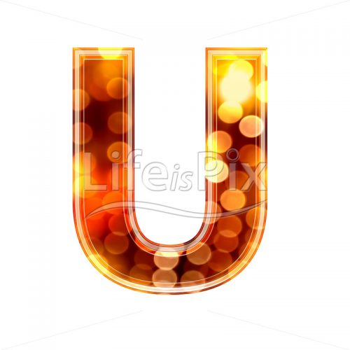 3d letter with blur defocus lights texture – U – Royalty free stock photos, illustrations and 3d letters fonts