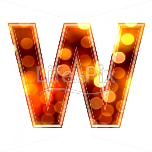 3d letter with blur defocus lights texture – W – Royalty free stock photos, illustrations and 3d letters fonts