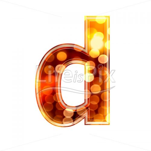 3d letter with blur defocus lights texture – small d – Royalty free stock photos, illustrations and 3d letters fonts