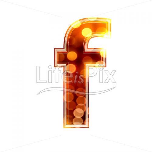3d letter with blur defocus lights texture – small f – Royalty free stock photos, illustrations and 3d letters fonts