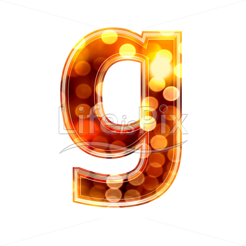 3d letter with blur defocus lights texture – small g – Royalty free stock photos, illustrations and 3d letters fonts