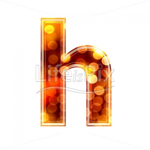 3d letter with blur defocus lights texture – small h – Royalty free stock photos, illustrations and 3d letters fonts