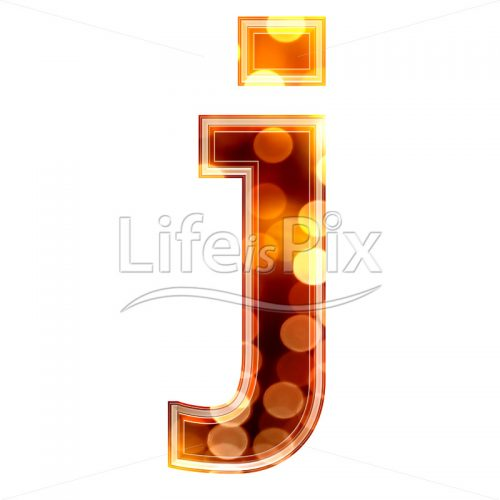 3d letter with blur defocus lights texture – small j – Royalty free stock photos, illustrations and 3d letters fonts