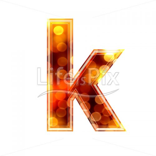3d letter with blur defocus lights texture – small k – Royalty free stock photos, illustrations and 3d letters fonts