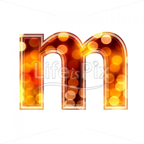 3d letter with blur defocus lights texture – small m – Royalty free stock photos, illustrations and 3d letters fonts