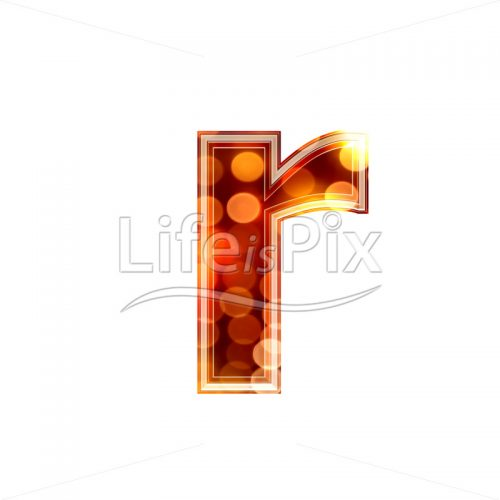 3d letter with blur defocus lights texture – small r – Royalty free stock photos, illustrations and 3d letters fonts