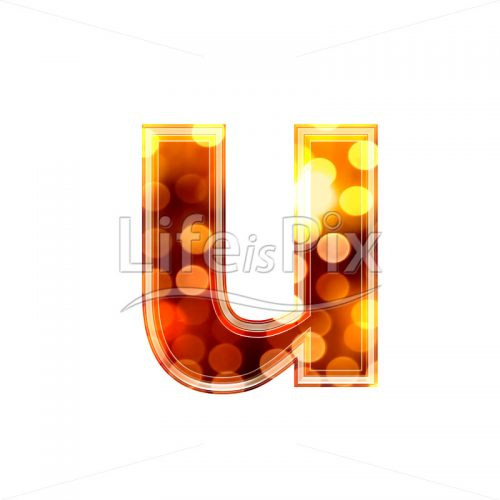 3d letter with blur defocus lights texture – small u – Royalty free stock photos, illustrations and 3d letters fonts
