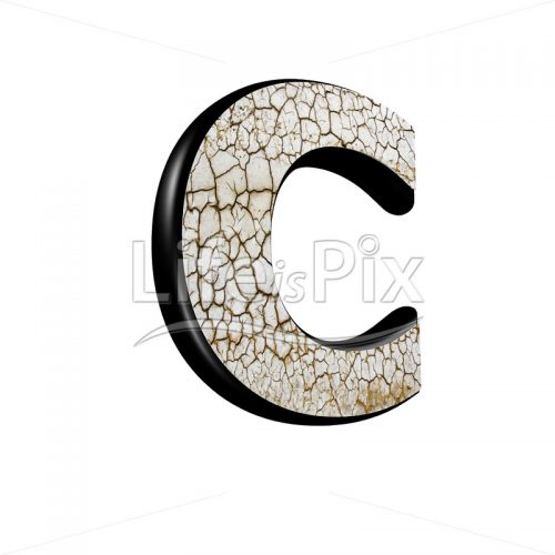 3d letter with cracked dry ground texture – C - Royalty free stock photos, illustrations and 3d letters fonts