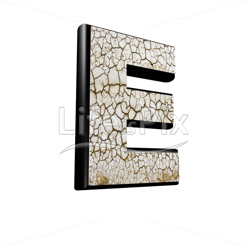 3d letter with cracked dry ground texture – E - Royalty free stock photos, illustrations and 3d letters fonts