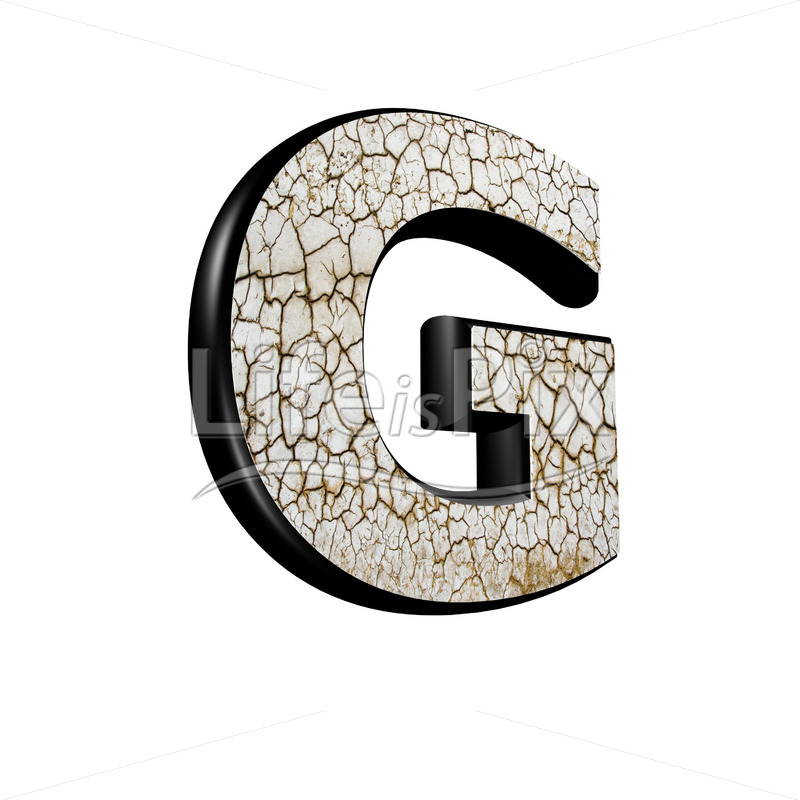 3d letter with cracked dry ground texture – G - Royalty free stock photos, illustrations and 3d letters fonts