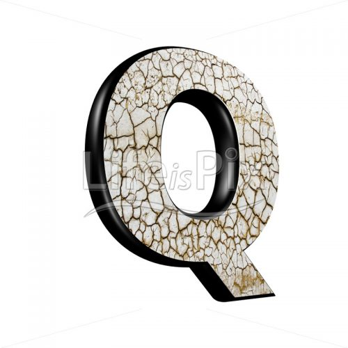 3d letter with cracked dry ground texture – Q - Royalty free stock photos, illustrations and 3d letters fonts