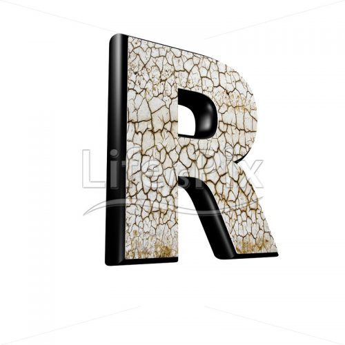 3d letter with cracked dry ground texture – R - Royalty free stock photos, illustrations and 3d letters fonts