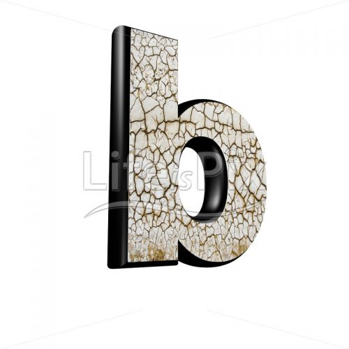 3d letter with cracked dry ground texture – b - Royalty free stock photos, illustrations and 3d letters fonts