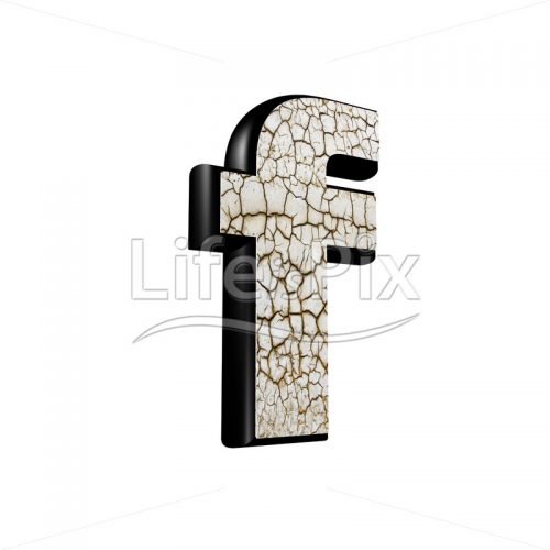 3d letter with cracked dry ground texture – f - Royalty free stock photos, illustrations and 3d letters fonts