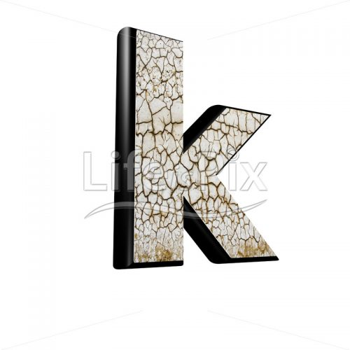 3d letter with cracked dry ground texture – k - Royalty free stock photos, illustrations and 3d letters fonts