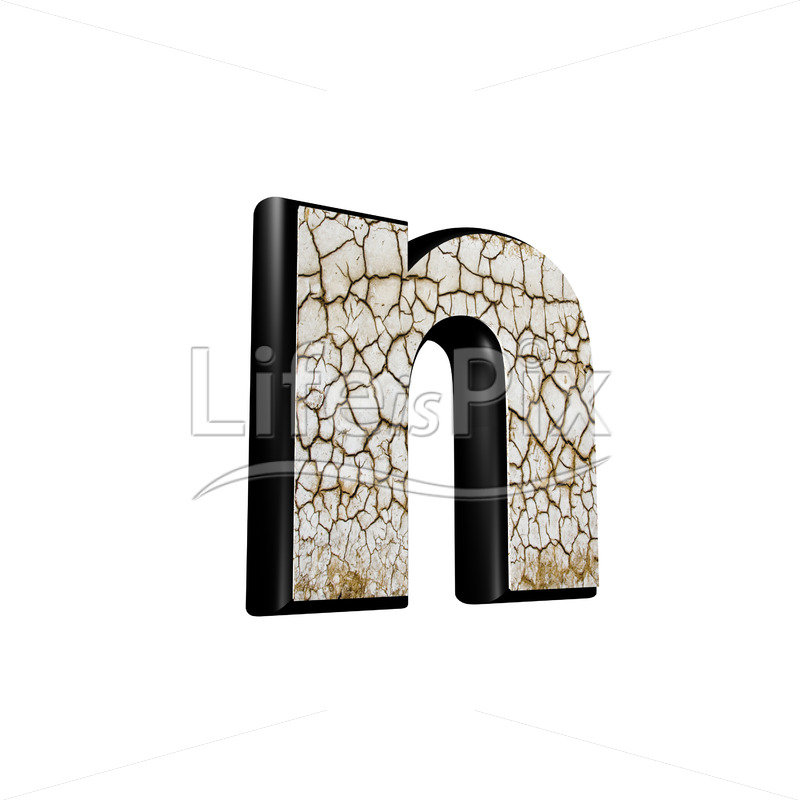 3d letter with cracked dry ground texture – n - Royalty free stock photos, illustrations and 3d letters fonts