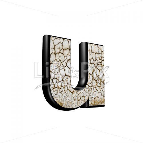 3d letter with cracked dry ground texture – u - Royalty free stock photos, illustrations and 3d letters fonts