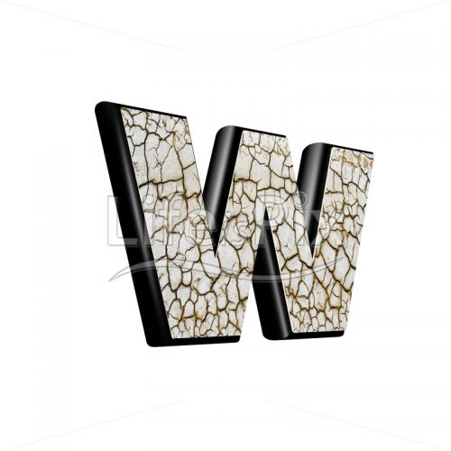 3d letter with cracked dry ground texture – w - Royalty free stock photos, illustrations and 3d letters fonts