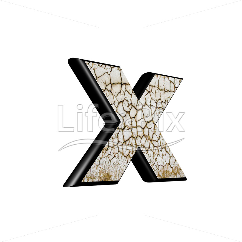 3d letter with cracked dry ground texture – x - Royalty free stock photos, illustrations and 3d letters fonts
