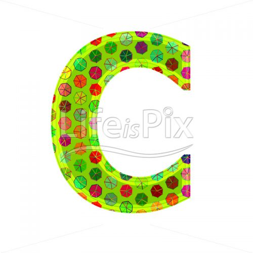 3d letter with decorative texture – C - Royalty free stock photos, illustrations and 3d letters fonts